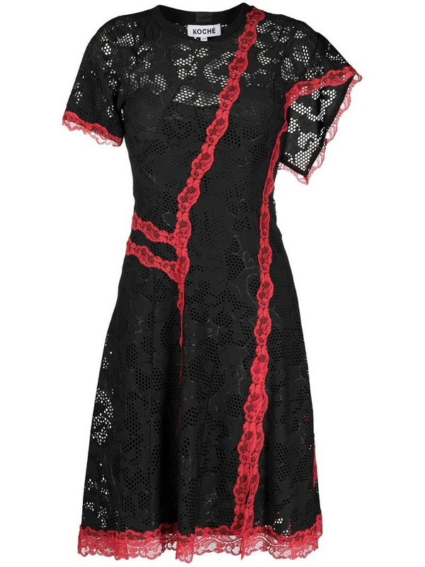 Koché asymmetric lace dress in black
