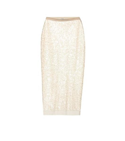 Miu Miu Sequined pencil skirt in white