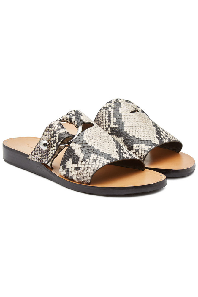 Rag & Bone Arc Flat Printed Leather Slides  in print