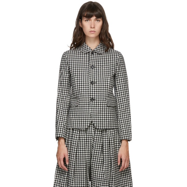 Comme des Garcons Comme des Garcons Grey and White Gingham Blazer in natural