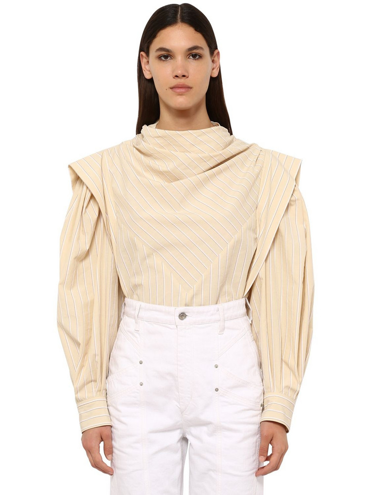 ISABEL MARANT Welly Striped Cotton Blend Poplin Shirt in ivory