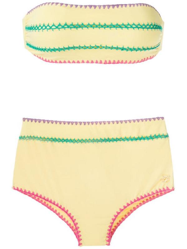 Brigitte Manu e Fran crochet trim bikini set in yellow