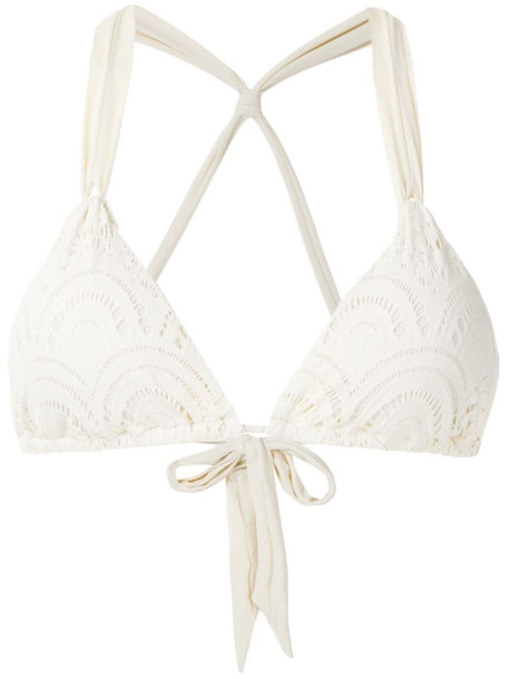 Track & Field Renda bikini top in white