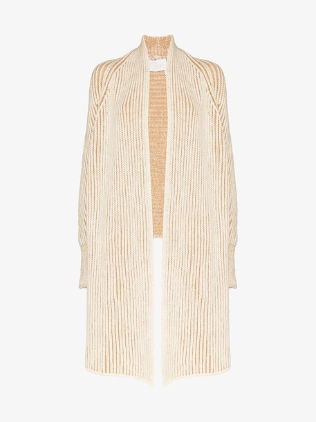 Chloé Chloé Long knit scarf front cardigan in neutrals