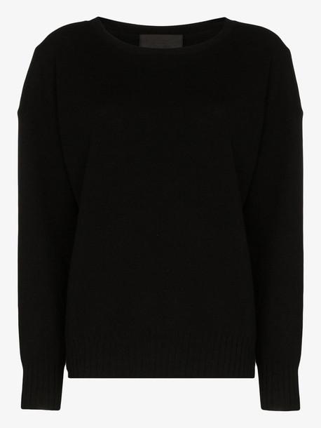 Nili Lotan boyfriend scoop neck cashmere sweater in black