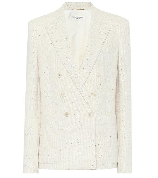 Saint Laurent Sequined tweed blazer in white
