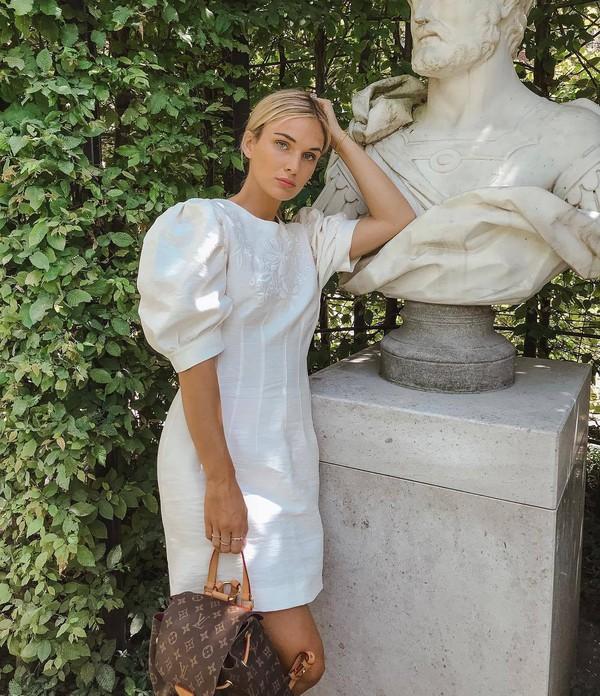 dress white dress mini dress short dress louis vuitton bag