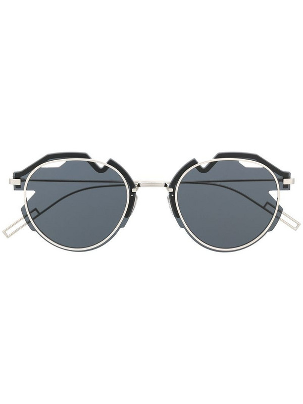 Dior Eyewear Breaker asymmetric round-frame sunglasses in silver