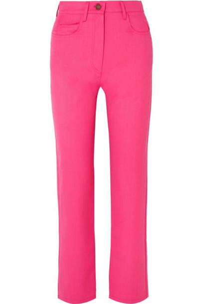 KENZO - Cropped Wool-blend Gabardine Straight-leg Pants - Fuchsia
