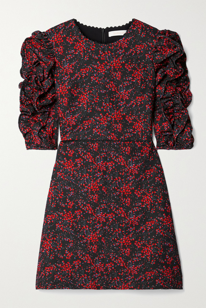 SEE BY CHLOÉ SEE BY CHLOÉ - Ruched Floral-print Crepe Mini Dress - Black