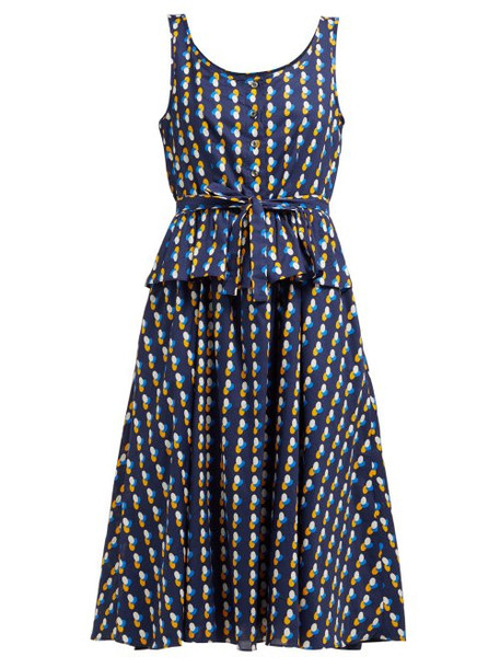 A.P.C. A.p.c. - Murano Print Cotton Dress - Womens - Navy Multi