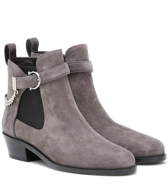 Salvatore Ferragamo Gancini suede ankle boots in grey