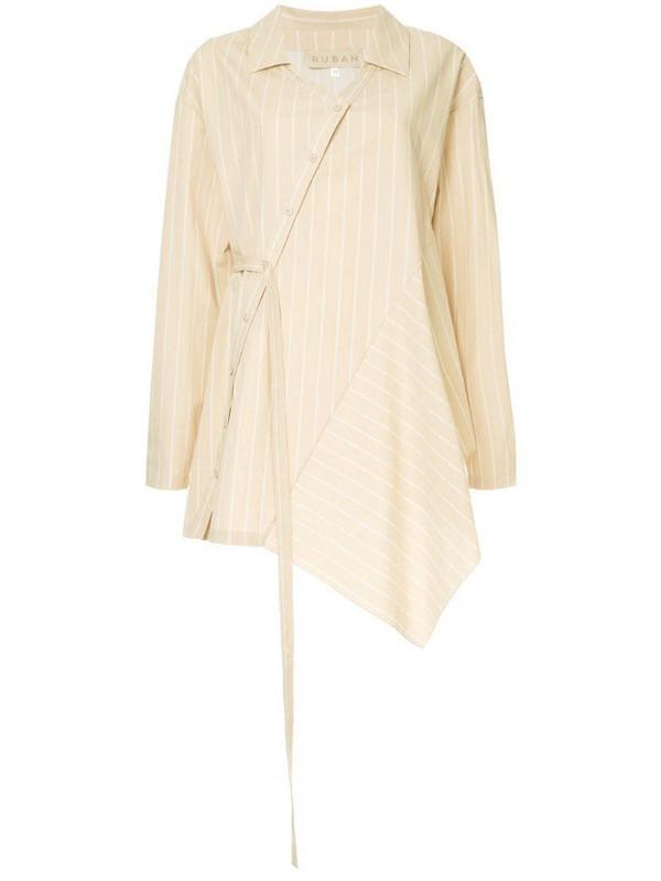 Ruban asymmetric striped shirt in neutrals