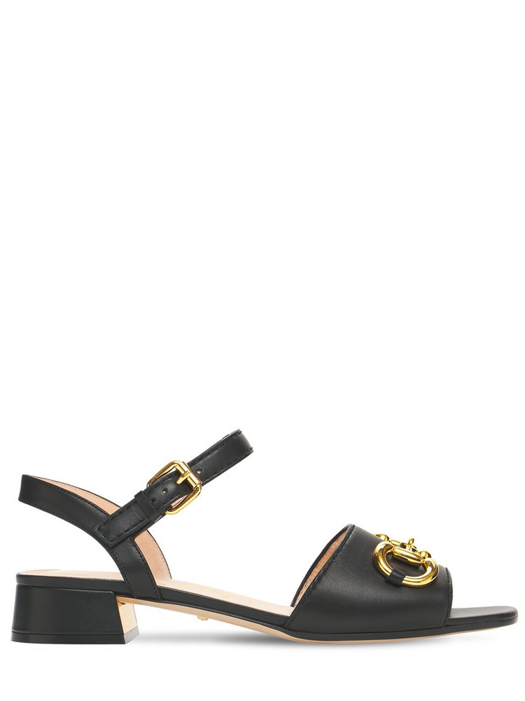 GUCCI 25mm Baby Leather Sandals W/ Horsebit in black