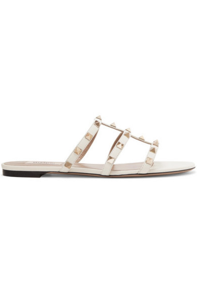 Valentino - Valentino Garavani The Rockstud Leather Sandals - Ivory