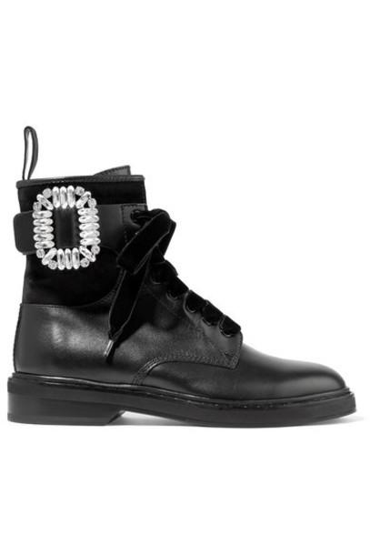 Roger Vivier - Viv Rangers Crystal-embellished Paneled Leather And Suede Ankle Boots - Black