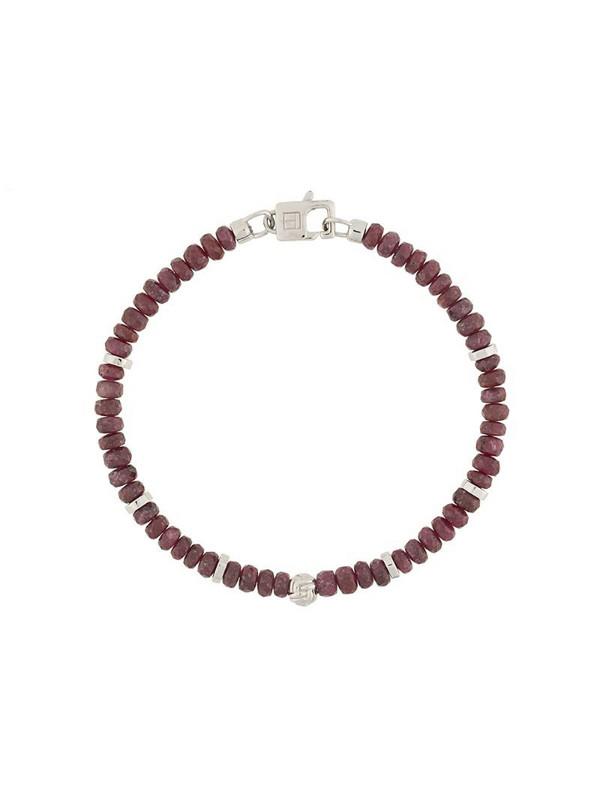 Tateossian beaded clasp bracelet in red