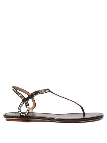 Aquazzura - Almost Bare Crystal Embellished Leather Sandals - Womens - Black