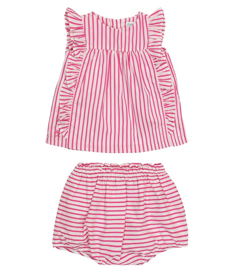 Polo Ralph Lauren Kids Baby striped cotton top and bloomers set in pink