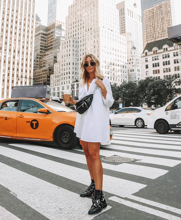 dress shirt dress long sleeves white dress black boots ankle boots belt bag