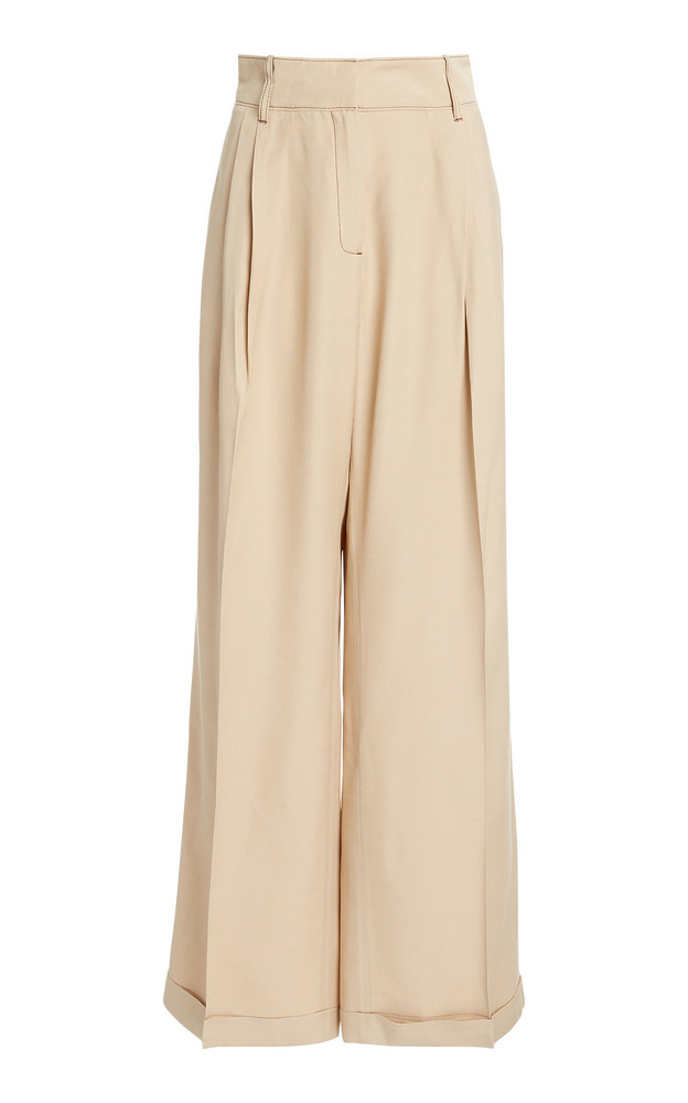 Wales Bonner Tailored Crepe Wide-Leg Trousers in neutral