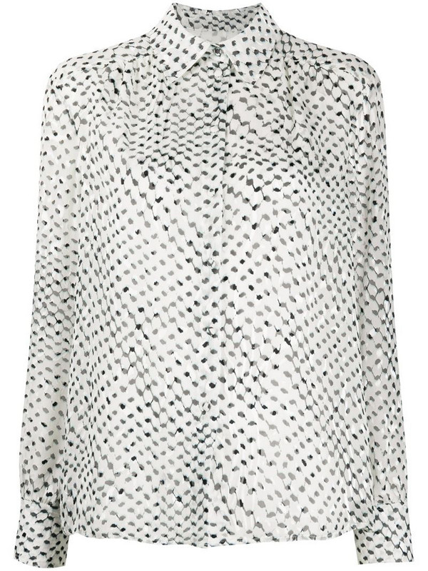 Lala Berlin long-sleeved kufiya-print shirt in white