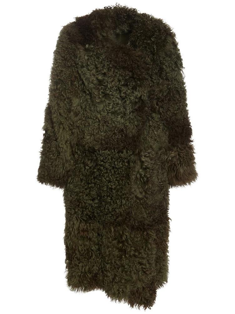 ALBERTA FERRETTI Reversible Shearling Long Coat in green
