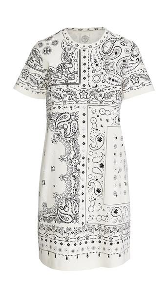 Tory Burch Bandanna Print T-Shirt Dress in ivory