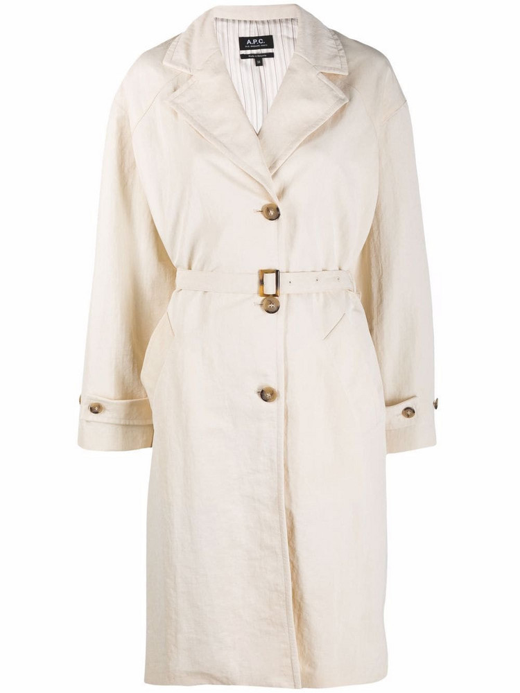 A.P.C. A.P.C. belted single-breasted coat - Neutrals