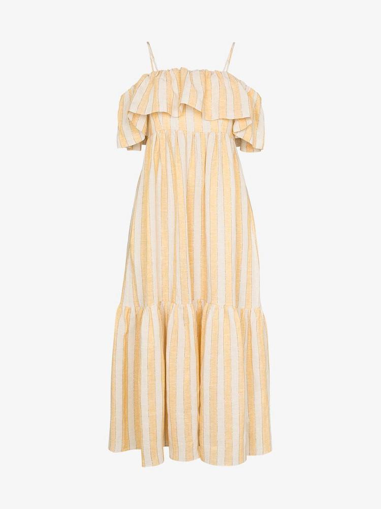Three Graces Ida ruffle stripe maxi dress in yellow