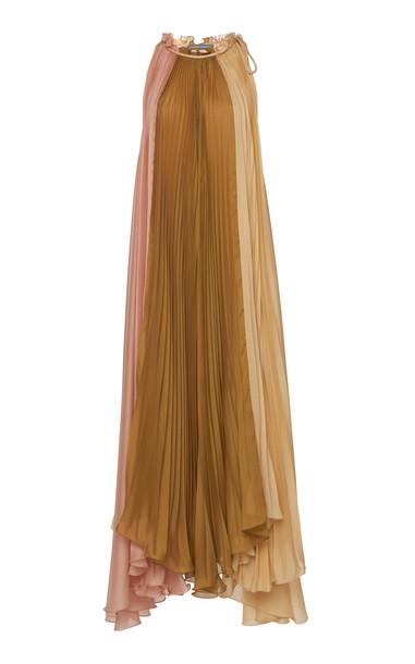 Alberta Ferretti Sleeveless Plissé Maxi Dress in pink