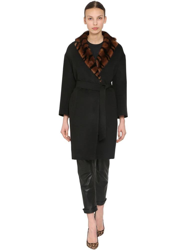 SIMONETTA RAVIZZA Mink Collar Wool Coat W/ Silk Lining in black