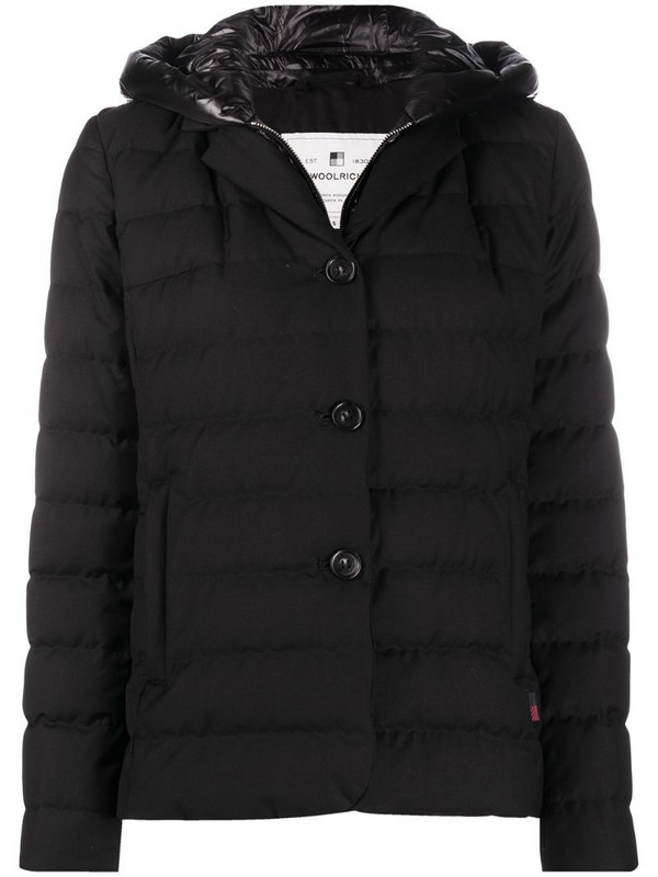 Woolrich layered quilted down jacket in black
