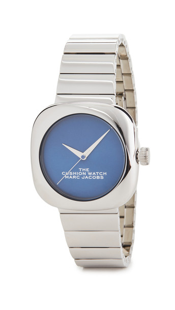 The Marc Jacobs The Cushion Watch 36mm in blue / silver