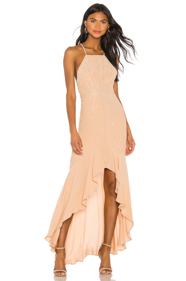 X by NBD Annie Embellished Dress in beige