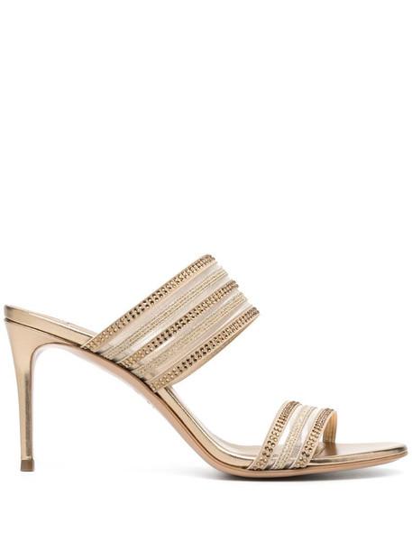 Casadei metallic-print crystal-embellished sandals in neutrals