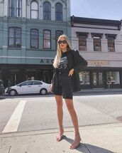 top,black t-shirt,denim shorts,black shorts,black blazer,sandal heels