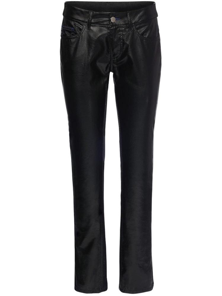 KOCHE' Python Faux Leather & Denim Pants in black
