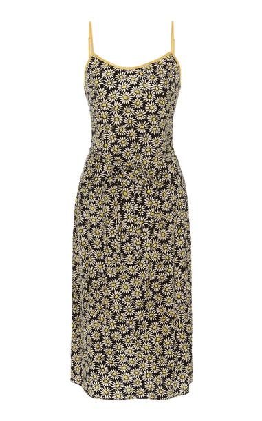 HVN Susan Floral-Print Silk Crepe De Chine Slip Dress