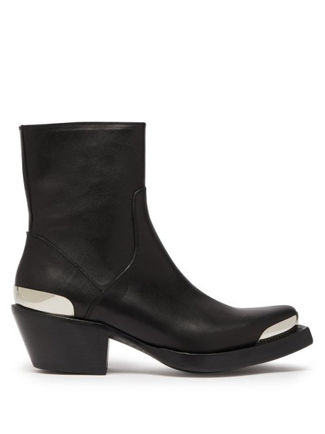 Vetements - Metal Toecap Leather Western Boots - Womens - Black