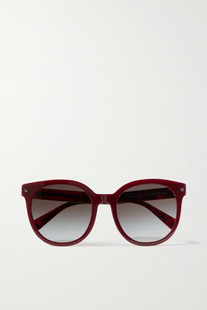 VALENTINO - Valentino Garavani Round-frame Acetate Sunglasses - Burgundy