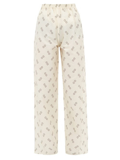 Giuliva Heritage Collection - The Amanda Geometric Print Cotton Blend Trousers - Womens - Ivory Multi
