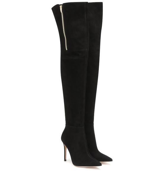 Gianvito Rossi Suede over-the-knee boots in black
