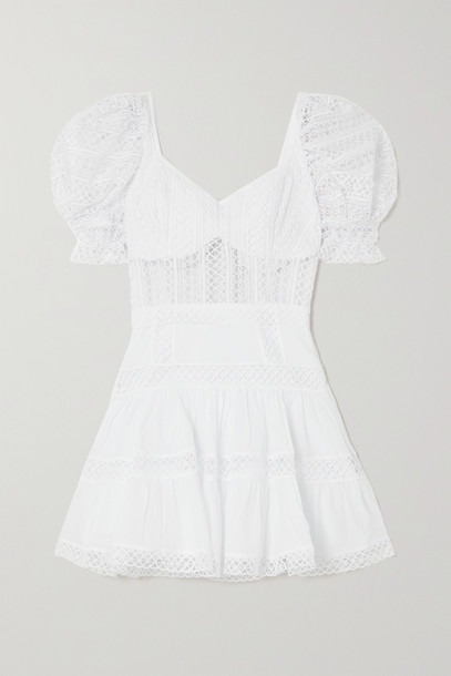 CHARO RUIZ - Katharine Guipure Lace And Cotton-blend Voile Mini Dress - White