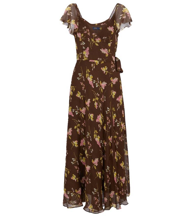 Polo Ralph Lauren Floral sleeve midi dress in brown