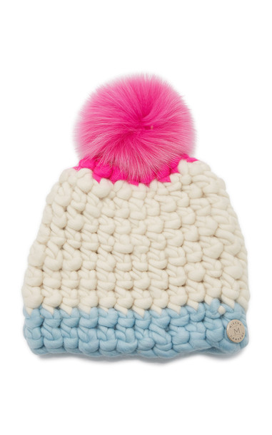 Mischa Lampert Multi-Color Wool and Fox Fur Pom Beanie in white