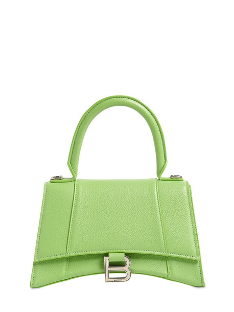 BALENCIAGA Sm Hourglass Grained Leather Bag in green