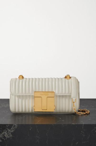 TOM FORD - 001 Medium Quilted Leather Shoulder Bag - Ivory