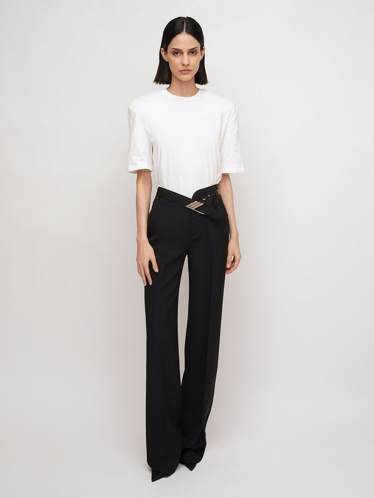 THE ATTICO High Waist Wool Blend Belted Pants in black