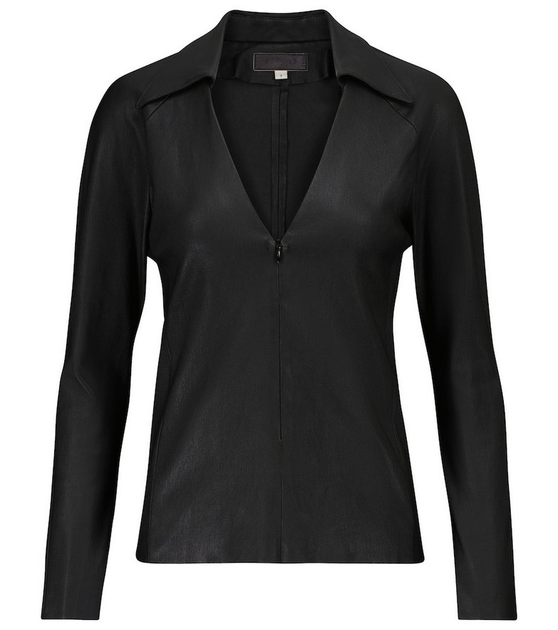 STOULS Pepper leather top in black